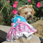 View Image 4 of Pink and Blue Plumeria Dog Harness Dress by Doggie Design