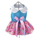 View Image 3 of Pink and Blue Plumeria Dog Harness Dress by Doggie Design