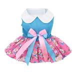 View Image 1 of Pink and Blue Plumeria Dog Harness Dress by Doggie Design