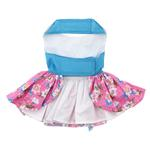 View Image 2 of Pink and Blue Plumeria Dog Harness Dress by Doggie Design