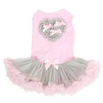 View Image 1 of Pink and Gray Heart Pet Dress by Pawpatu