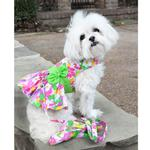View Image 4 of Pink Hawaiian Floral Dog Harness Dress with Leash by Doggie Design