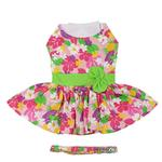 View Image 2 of Pink Hawaiian Floral Dog Harness Dress with Leash by Doggie Design