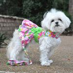 View Image 5 of Pink Hawaiian Floral Dog Harness Dress with Leash by Doggie Design