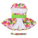 View Image 3 of Pink Hawaiian Floral Dog Harness Dress with Leash by Doggie Design