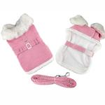 View Image 1 of Pink Houndstooth and White Fur Collar Harness Coat