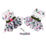 View Image 3 of Pink Rose Dog Harness Dress with Matching Leash by Doggie Design