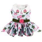 View Image 1 of Pink Rose Dog Harness Dress with Matching Leash by Doggie Design