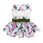 View Image 2 of Pink Rose Dog Harness Dress with Matching Leash by Doggie Design