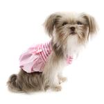 View Image 1 of Pink Satin and Striped Tank Dog Dress by Parisian Pet