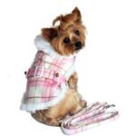 View Image 1 of Plaid Fur-Trimmed Dog Harness Coat by Doggie Design - Pink and White