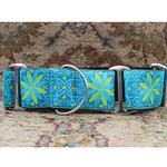 View Image 2 of Pinwheel Wide Martingale Dog Collar by Diva Dog - Caribbean Blue