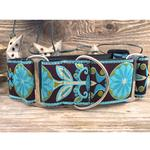 View Image 2 of Boho Peacock Wide Martingale Dog Collar by Diva Dog
