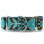 View Image 1 of Boho Peacock Wide Martingale Dog Collar by Diva Dog