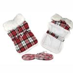 View Image 1 of Plaid Fur-Trimmed Dog Harness Coat by Doggie Design - Red and White