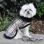 View Image 2 of Plaid Fur-Trimmed Dog Harness Coat by Doggie Design- Camel and Black