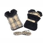View Image 1 of Plaid Fur-Trimmed Dog Harness Coat by Doggie Design- Camel and Black
