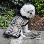 View Image 3 of Plaid Fur-Trimmed Dog Harness Coat by Doggie Design- Camel and Black