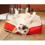 View Image 3 of P.L.A.Y. Serengeti Rectangular Dog Bed - Splashed White and Lust