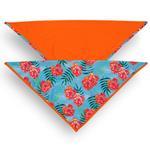 View Image 1 of Playa Pup UPF50+ Reversible Dog Bandana - Tropical Floral Blue/Tagate