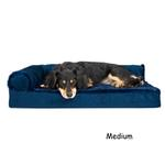 View Image 2 of FurHaven Plush & Velvet Deluxe Chaise Lounge Orthopedic Sofa-Style Dog Bed - Deep Sapphire