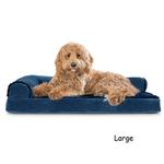 View Image 3 of FurHaven Plush & Velvet Deluxe Chaise Lounge Orthopedic Sofa-Style Dog Bed - Deep Sapphire