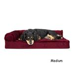 View Image 2 of FurHaven Plush & Velvet Deluxe Chaise Lounge Orthopedic Sofa-Style Dog Bed - Merlot Red