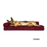View Image 3 of FurHaven Plush & Velvet Deluxe Chaise Lounge Orthopedic Sofa-Style Dog Bed - Merlot Red