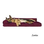 View Image 6 of FurHaven Plush & Velvet Deluxe Chaise Lounge Pillow Sofa-Style Dog Bed - Merlot Red