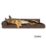 View Image 4 of FurHaven Plush & Velvet Deluxe Chaise Lounge Pillow Sofa-Style Dog Bed - Sable Brown