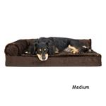 View Image 4 of FurHaven Plush & Velvet Deluxe Chaise Lounge Orthopedic Sofa-Style Dog Bed - Sable Brown