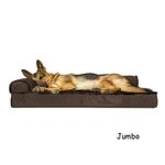 View Image 1 of FurHaven Plush & Velvet Deluxe Chaise Lounge Orthopedic Sofa-Style Dog Bed - Sable Brown