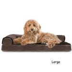 View Image 2 of FurHaven Plush & Velvet Deluxe Chaise Lounge Orthopedic Sofa-Style Dog Bed - Sable Brown