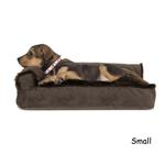 View Image 1 of FurHaven Plush & Velvet Deluxe Chaise Lounge Pillow Sofa-Style Dog Bed - Sable Brown