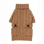 View Image 1 of Pocket Cable Knit Dog Sweater - Camel
