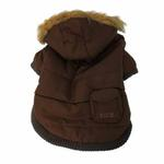 View Image 1 of Pocket Dog Parka by Dogo - Brown