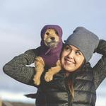 View Image 3 of Polaris Reflective Dog Snood  - Plum Purple