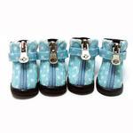 View Image 1 of Polka Dot Hiker Dog Boots - Light Blue