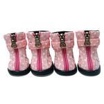 View Image 1 of Polka Dot Hiker Dog Boots - Light Pink