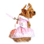 View Image 1 of Pink Polka Dot and Lace Designer Dog Harness Dress by Doggie Design