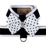 View Image 1 of Polka Dot Nouveau Bow Tinkie Dog Harness with Trim by Susan Lanci - Black & White
