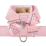 View Image 1 of Peaches & Cream Glen Houndstooth Nouveau Bow Tinkie Dog Harness by Susan Lanci - Puppy Pink
