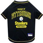 View Image 1 of Property Of Pittsburgh Steelers Dog T-Shirt - Black