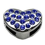 View Image 1 of Puffy Heart Slider Dog Collar Charm - Blue