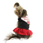 View Image 1 of Puppy Love Screen Print Dog Dress - Black with Red Skirt