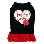 View Image 2 of Puppy Love Screen Print Dog Dress - Black with Red Skirt