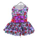 View Image 3 of Purple and Red Floral Dog Harness Dress by Doggie Design