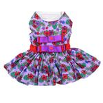View Image 1 of Purple and Red Floral Dog Harness Dress by Doggie Design