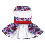 View Image 2 of Purple and Red Floral Dog Harness Dress by Doggie Design