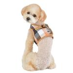 View Image 5 of Quinn Plaid Vest Dog Harness by Puppia - Beige